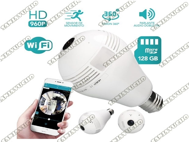 LAMPARA LED CAMARA DE SEGURIDAD IP WIFI HD